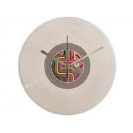 Horloge Vinyle Transparent Macaron Flèches Vintage