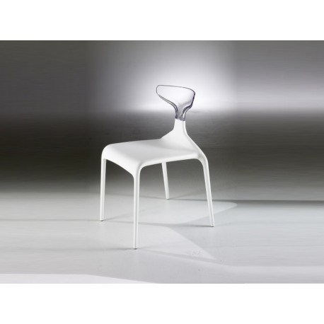 Chaise Punk Assise Blanche Dossier Transparent