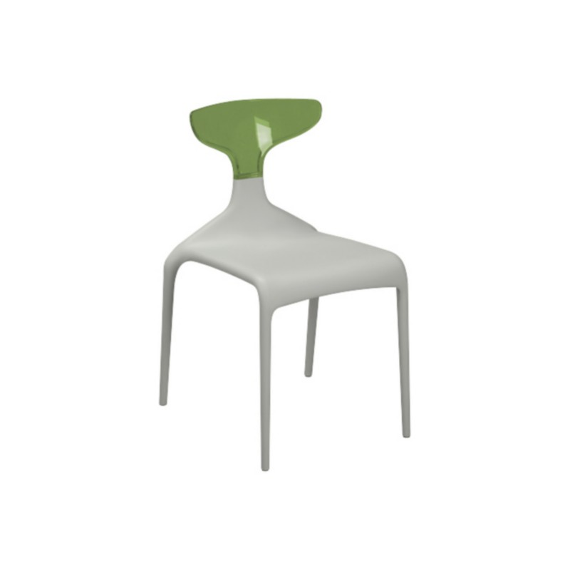 Chaise punk assise blanche dossier transparent by green for Chaise blanche confortable