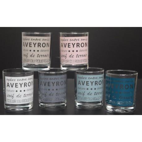 """Apéro entre amis... Aveyron"" set 6 verres"
